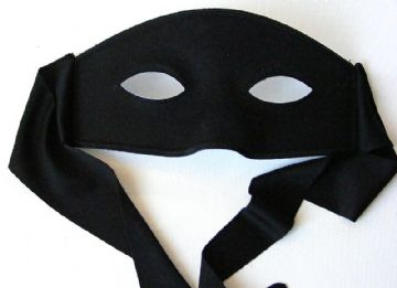 Black Zorro Mask suitable over glasses